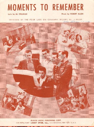 Four Lads - Moments To Remember - SHEET MUSIC for the Love Balladmade popular by The Four Lads, NICE cover art! - EX8/ - Sheet Music
