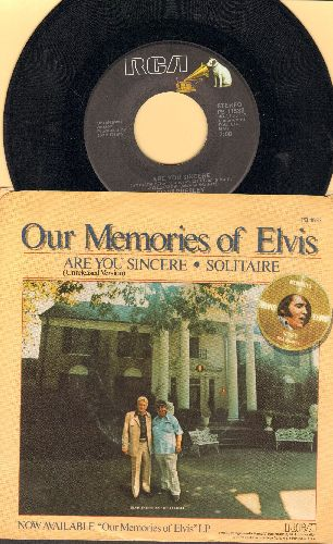 Presley, Elvis - Our Memories Of Elvis: Are You Sincere (Previously unreleased)/Solitaire (with picture sleeve) - EX8/EX8 - 45 rpm Records