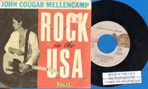 Mellencamp, John Cougar - R.O.C.K. In The U.S.A. (A Salute To 60s Rock)/Under The Boardwalk (with juke box label and picture sleeve) - NM9/VG7 - 45 rpm Records