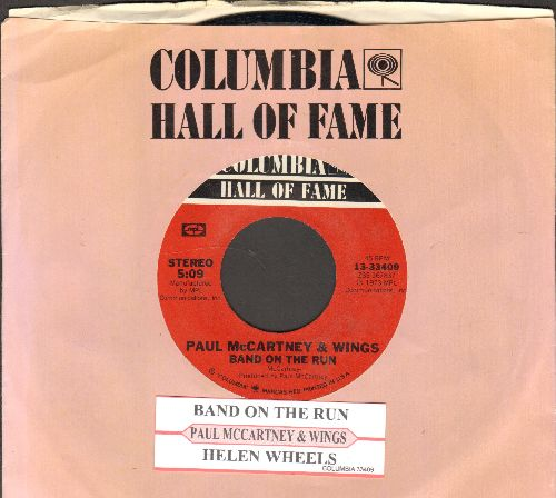 McCartney, Paul & Wings - Band On The Run/Helen Wheels (double-hit re-issue with juke box label and company sleeve) - NM9/ - 45 rpm Records