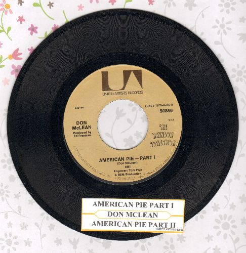McLean, Don - American Pie (Bye Bye Miss American Pie) (Parts 1+2) (PARTY SING-ALONG FAVORITE! - with juke box label) - EX8/ - 45 rpm Records