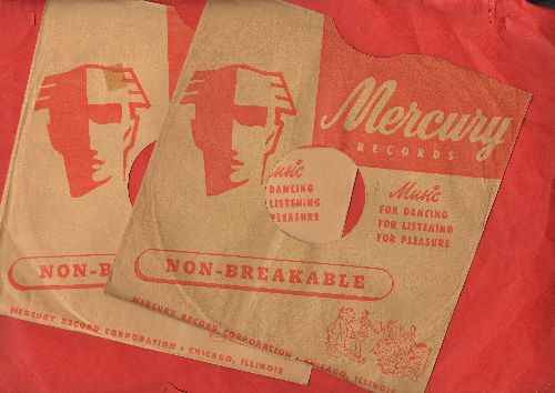 Company Sleeves - 2 for the price of 1! 10 inch vintage Mercury company sleeves (exactly as pictured), shipped in 10 inch clear plastic sleeve. Enhances and protects you collectable 10 inch 78 rpm record!  - /EX8/EX8 - Supplies