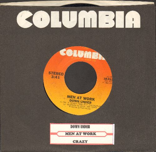 Men At Work - Down Under/Crazy (with Columbia company sleeve and juke box label) - VG7/ - 45 rpm Records