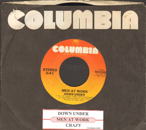 Men At Work - Down Under/Crazy (with Columbia company sleeve and juke box label) - NM9/ - 45 rpm Records