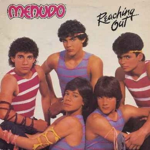 Menudo - Reaching Out: Heavenly Angel, Fly Away, Motorcycle Dreamer, Gimme Rock (Vinyl STEREO LP record) - NM9/EX8 - LP Records