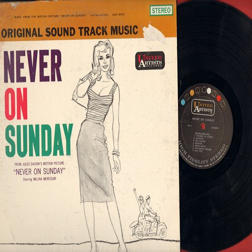 Mercouri, Melina - Never On Sunday - Original Motion Picture Sound Track - includes the title song by Melina Mercouri (Vinyl STEREO LP record, NICE condition!) - EX8/VG7 - LP Records
