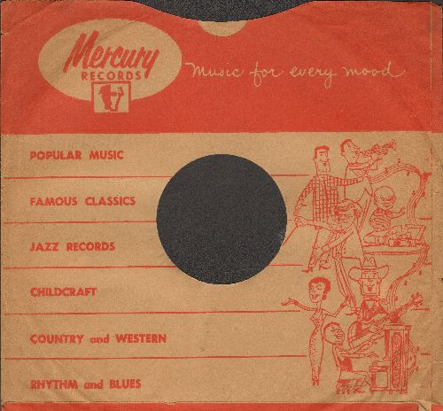 Company Sleeves - 10 inch vintage Mercury company sleeve (exactly as pictured), shipped in 10 inch clear plastic sleeve. Enhances and protects you collectable 10 inch 78 rpm record!  - /EX8/EX8 - Supplies