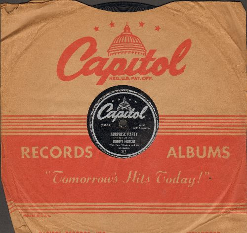 Mercer, Johnny & The Pied Pipers - Camptown Races/Surprise Party (10 inch 78 rpm record with Capitol company sleeve) - VG7/ - 78 rpm
