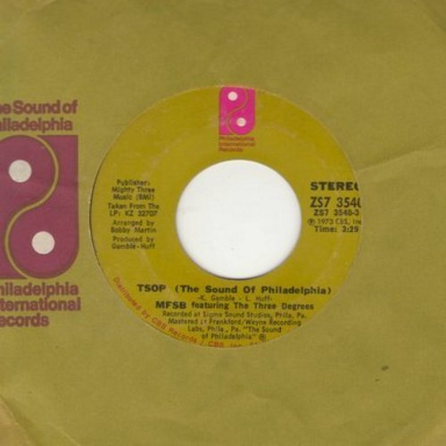 MFSB Featuring The Three Degrees - TSOP (The Sound Of Philadelphia)/Something For Nothing (with company sleeve) - NM9/ - 45 rpm Records