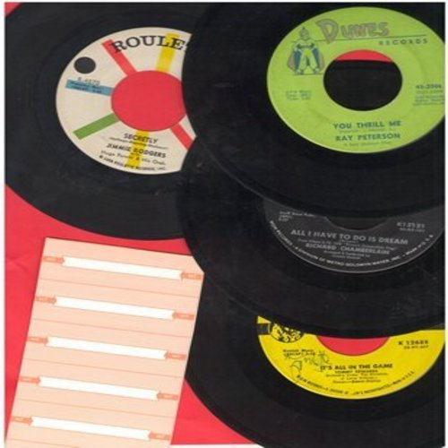 Chamberlain, Richard, Tommy Edwards, Jimmie Rodgers, Ray Peterson - Dreamy 4-pack of vintage 45s. Hits include All I Have To Do Is Dream, Secretly, You Thrill Me, It's All In The Game (with blank juke box labels) - EX8/ - 45 rpm Records