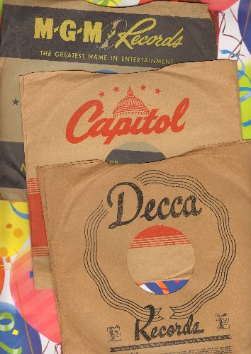 Company Sleeves - 3-Pack 10 inch vintage company sleeves (Capitol/DECCA/MGM - exactly as pictured), shipped in 10 inch clear plastic sleeve. Enhances and protects you collectable 10 inch 78 rpm record!   - /EX8/EX8 - Supplies