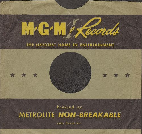 Company Sleeves - 10 inch vintage MGM company sleeve (exactly as pictured), shipped in 10 inch clear plastic sleeve. Enhances and protects you collectable 10 inch 78 rpm record!  - /EX8/EX8 - Supplies