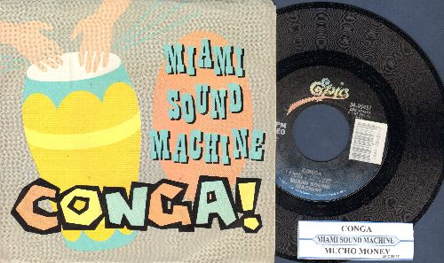 Miami Sound Machine - Conga! (PARTY FAVORITE!)/Mucho Money (with juke box label and picture sleeve) - NM9/EX8 - 45 rpm Records
