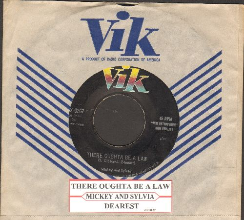 Mickey & Sylvia - There Oughta Be A Law/Dearest (with RARE vintage Vik company sleeve and juke box label) - NM9/ - 45 rpm Records