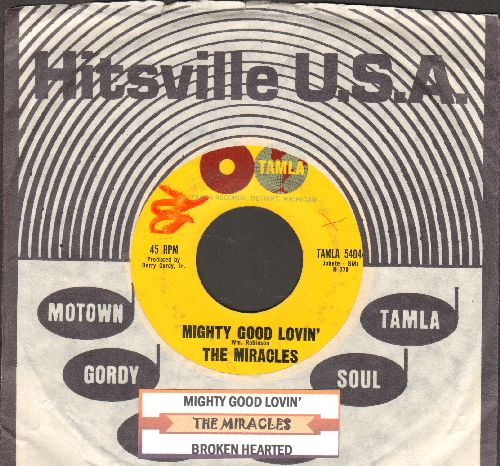 Miracles - Mighty Good Loving/Broken Hearted (with juke box label and vintage Motown company sleeve) - VG7/ - 45 rpm Records