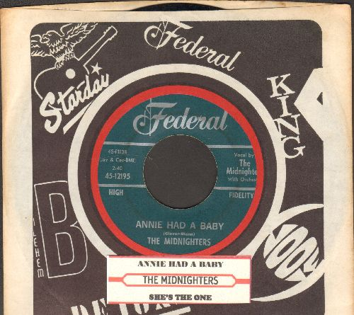 Midnighters - Annie Had A Baby/She's The One (RARE 1954 first pressing with juke box label and company sleeve) - NM9/ - 45 rpm Records
