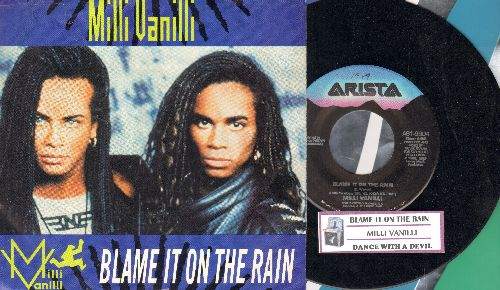 Milli Vanilli - Blame It On The Rain/Dance With The Devil (with picture sleeve and juke box label) - NM9/EX8 - 45 rpm Records