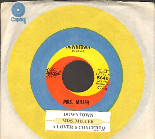 Miller, Mrs. - Downtown/A Lover's Concerto (the hilarious original two-sided one-hit-wonder 45 by America's Favorite tone-deaf Grandma!) (with juke box label and vintage Capitol company sleeve) - NM9/ - 45 rpm Records