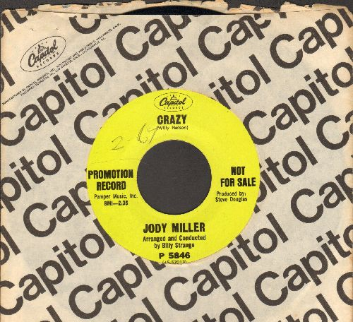 Miller, Jody - Crazy (NICE cover version of the Patsy Cline Classic!)/How Do You Say Goodbye (DJ advance pressing with Capitol company sleeve, minor wol) - NM9/ - 45 rpm Records
