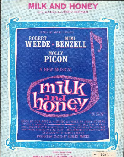 Fisher, Eddie - Milk And Honey - SHEET MUSIC for the Broadway Classic made popular by Eddie Fisher - EX8/ - Sheet Music