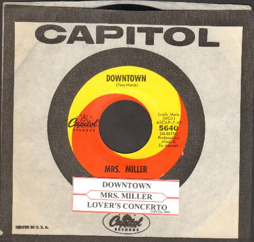 Miller, Mrs. - Downtown/A Lover's Concerto (the hilarious original two-sided one-hit-wonder 45 by America's Favorite tone-deaf Grandma!) (with juke box label and vintage Capitol company sleeve) - EX8/ - 45 rpm Records