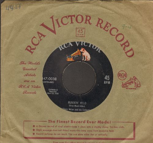 Miller, Glenn & His Orchestra - Runnin' Wild/Bugle Call Rag (black label, dog on top 1950s issue with vintage RCA company sleeve) - EX8/ - 45 rpm Records