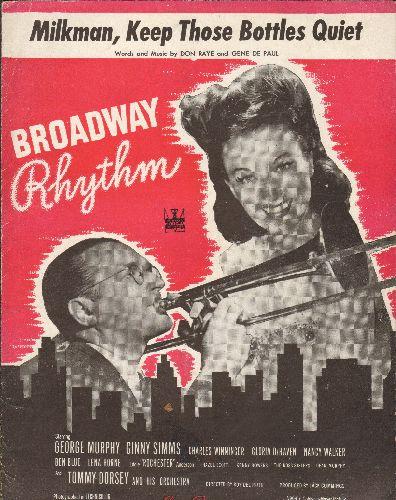 Walker, Nancy - Milkman, Keep Those Bottles Quiet - Vintage SHEET MUSIC for the song sung by Nancy Walker in the 1944 film -Broadway Rhythm-  - EX8/ - Sheet Music