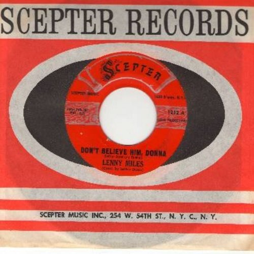 Miles, Lenny - Don't Believe Him, Donna/Invisible (with Scepter company sleeve) - VG7/ - 45 rpm Records