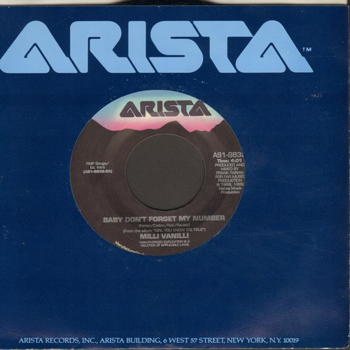Milli Vanilli - Baby Don't Forget My Number/Too Much Monkey Business (with Arista company sleeve) - EX8/ - 45 rpm Records