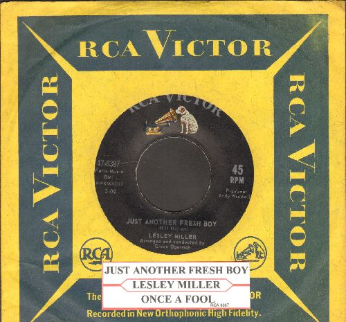 Miller, Lesley - Just Another Fresh Boy/Once A Fool (with juke box label and RCA company sleeve) - EX8/ - 45 rpm Records