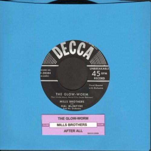 Mills Brothers - The Glow-Worm/After All (black label, silver lines 1950s pressing with juke box label)) - VG7/ - 45 rpm Records