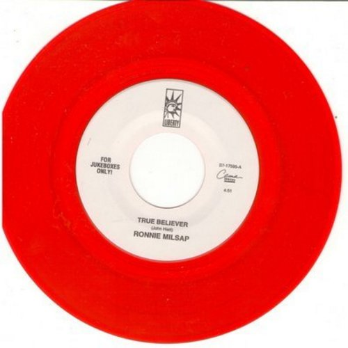 Milsap, Ronnie - True Believer/These Foolish Things (Remind Me Of You) (red vinyl DJ pressing) - M10/ - 45 rpm Records