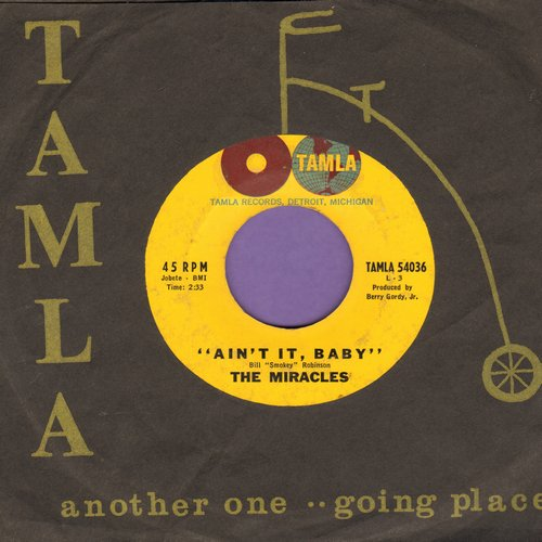 Miracles - Ain't It, Baby/The Only One I Love (with RARE vintage Tamla company sleeve) (minor wol) - EX8/ - 45 rpm Records