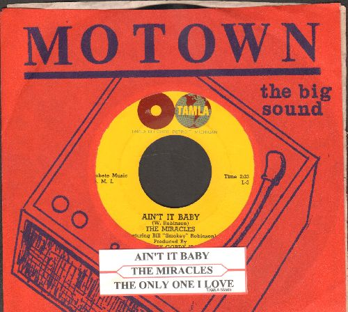 Miracles - Ain't It, Baby/The Only One I Love (with RARE company sleeve and juke box label) - EX8/ - 45 rpm Records