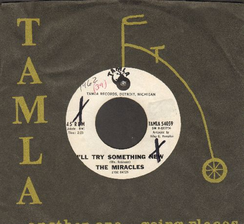 Miracles - I'll Try Something New (RARE one-sided DJ advance pressing with vintage Tamla company sleeve, wol) - EX8/ - 45 rpm Records