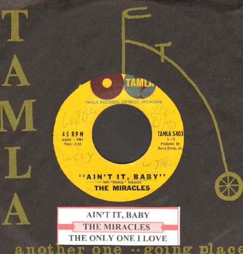 Miracles - Ain't It, Baby/The Only One I Love (with RARE company sleeve and juke box label, minor wol) - EX8/ - 45 rpm Records