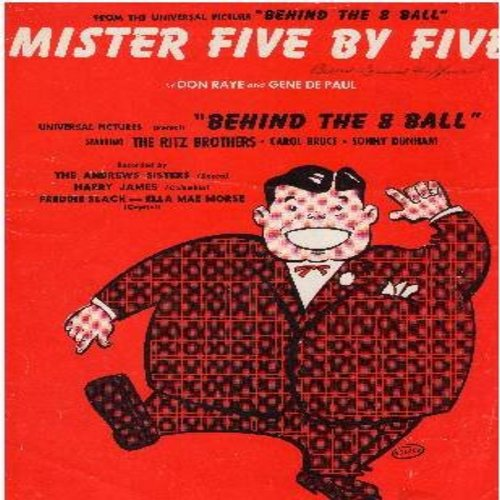 Raye, Don, Gene De Paul - Mister Five By Five (from film -Behind The 8 Ball-) - SHEET MUSIC for the popular novelty record (this is SHEET MUSIC, not any other kind of media!) - EX8/ - Sheet Music