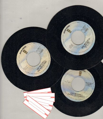 Mitchell, Joni - 3-Pack of first issue 45s. Hits include Raised On Radio, Help Me and Free Man In Paris. Shipped in plain paper sleeves with 4 blank juke box labels. - EX8/ - 45 rpm Records