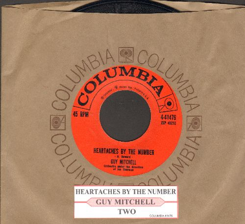 Mitchell, Guy - Heartaches By The Number (Ich zaehle taeglich meine Sorgen)/Two (NICE condition with juke box label and vintage Columbia company sleeve) - NM9/ - 45 rpm Records