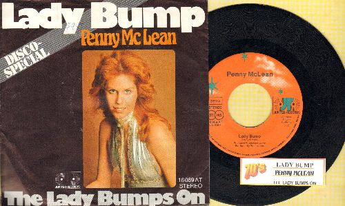 McLean, Penny - Lady Bump/The Lady Bumps On (Most successful title of various novelty records capitalizing on the 70s -Bump- Dance Craze) (German Pressing with picture sleeve and juke box label) - EX8/EX8 - 45 rpm Records