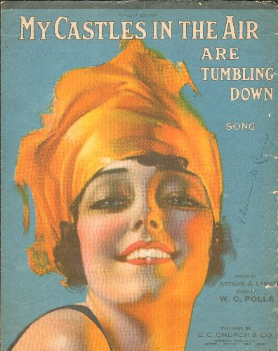 My Castles In The Air Are Tumbling Down - My Castles In The Air Are Tumbling Down - RARE Vintage 1919 SHEET MUSIC for the ssong wriiten by Arthur J. Lamb and W. C. Polla. Stunning Cover Art! - VG7/ - Sheet Music