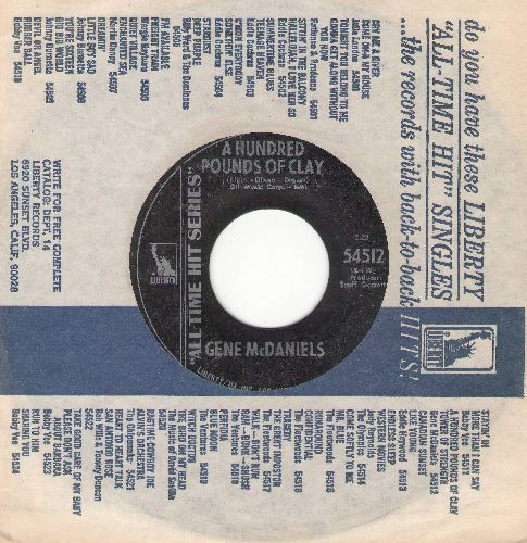 McDaniels, Gene - A Hundred Pounds Of Clay/Tower Of Strength (authentic-looking early re-issue with company sleeve) - NM9/ - 45 rpm Records