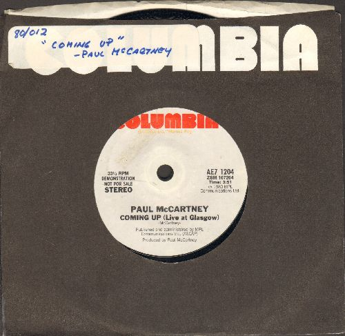 McCartney, Paul - Coming Up (Live at Glasgow) (RARE 7 inch 33rpm STEREO single-sided Demonstration record with Columbia company sleeve, small spindle hole) - NM9/ - 45 rpm Records