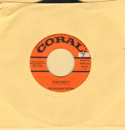 McGuire Sisters - Sincerely/No More  - VG6/ - 45 rpm Records
