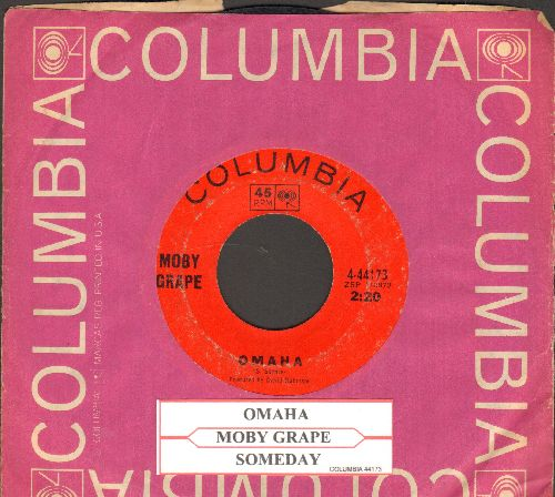 Moby Grape - Omaha/Someday (with juke box label and Columbia company sleeve) - VG7/ - 45 rpm Records
