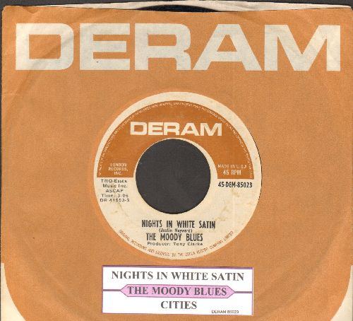 Moody Blues - Nights In White Satin/Cities (with juke box label and Deram company sleeve) - NM9/ - 45 rpm Records