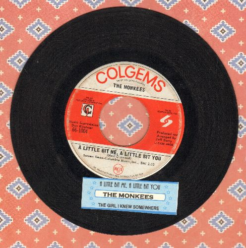 Monkees - A Little Bit Me, A Little Bit You/The Girl I Knew Somewhere (with juke box label) - EX8/ - 45 rpm Records