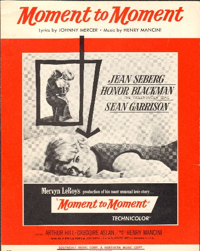 Mancini, Henry - Moment to Moment - Vintage SHEET MUSIC for the theme from film of same title. Movie Poster Cover Art featuring star Jean Seberg. - EX8/ - Sheet Music