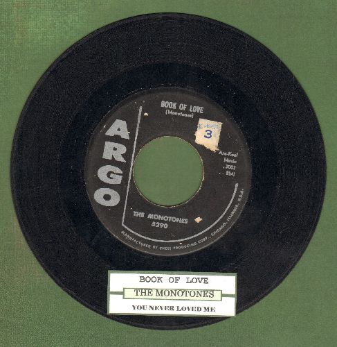 Monotones - Book Of Love/You Never Loved Me (original first issue with juke box label)(ssol) - VG7/ - 45 rpm Records