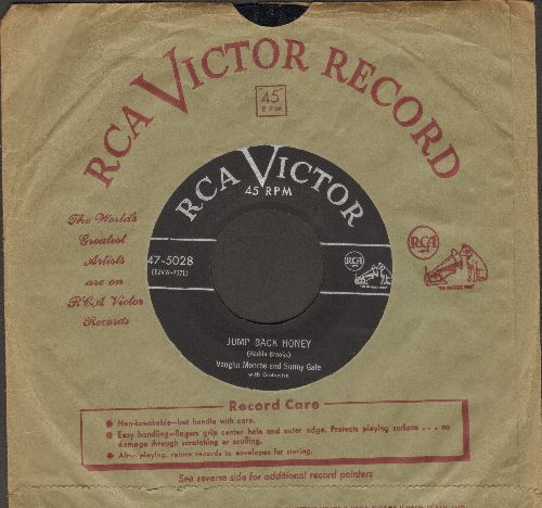 Monroe, Vaughn & Sunny Gale with Orchestra - Jump Back Honey (FANTASTIC Up-Beat Vintage Rock & Roll Tune!)/So-So (with vintage RCA company sleeve) - EX8/ - 45 rpm Records